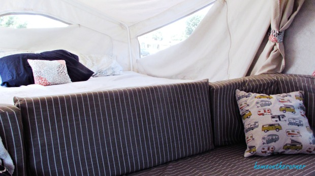 rv makeover striped cushions and bed