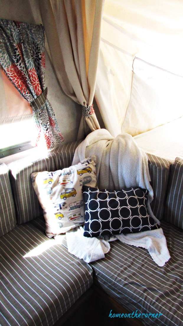 rv makeover striped cushions, trailer pillow