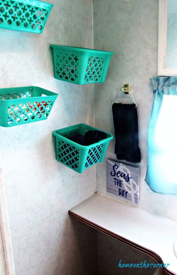rv makeover turquoise baskets
