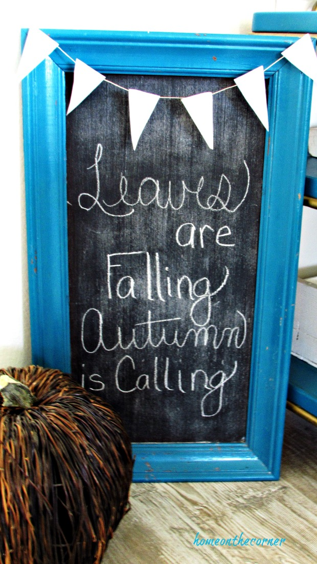 fall living room chalkboard