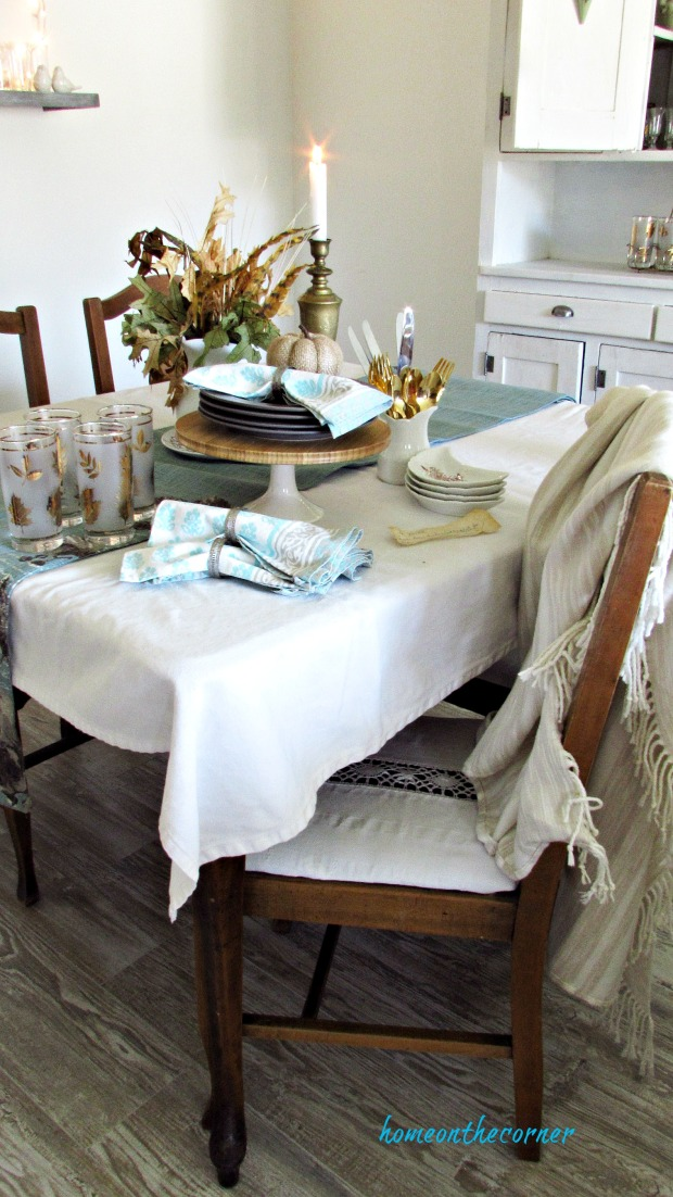 fall living room dining room table place setting