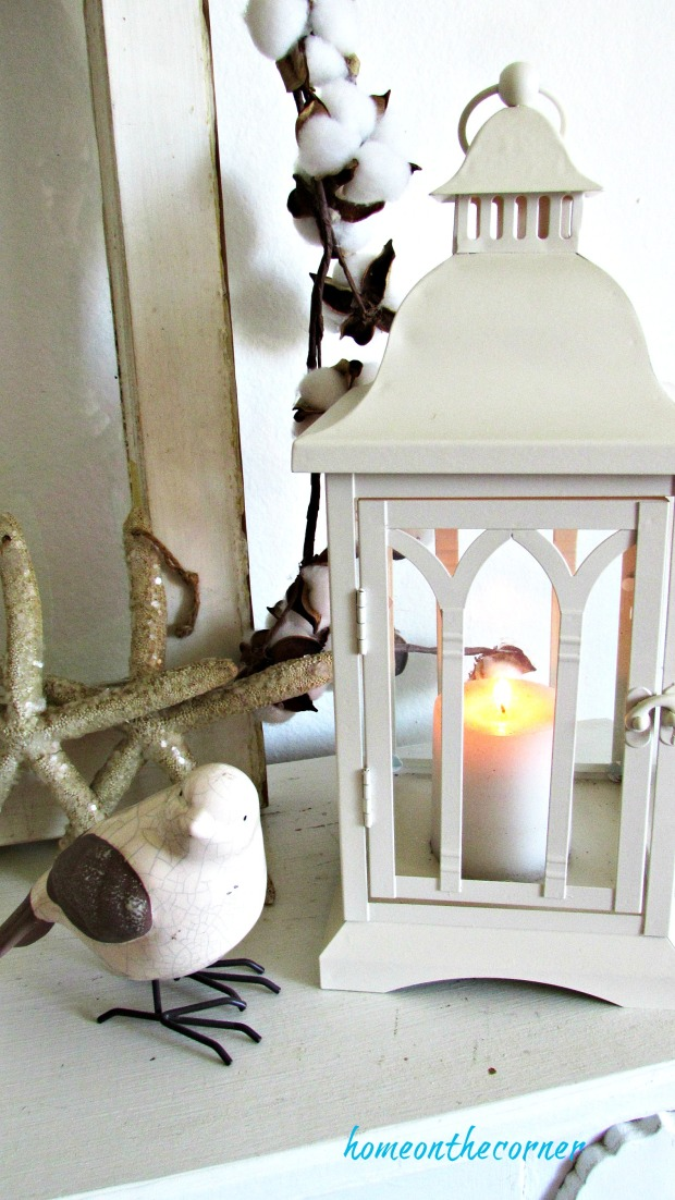 fall living room lantern and bird