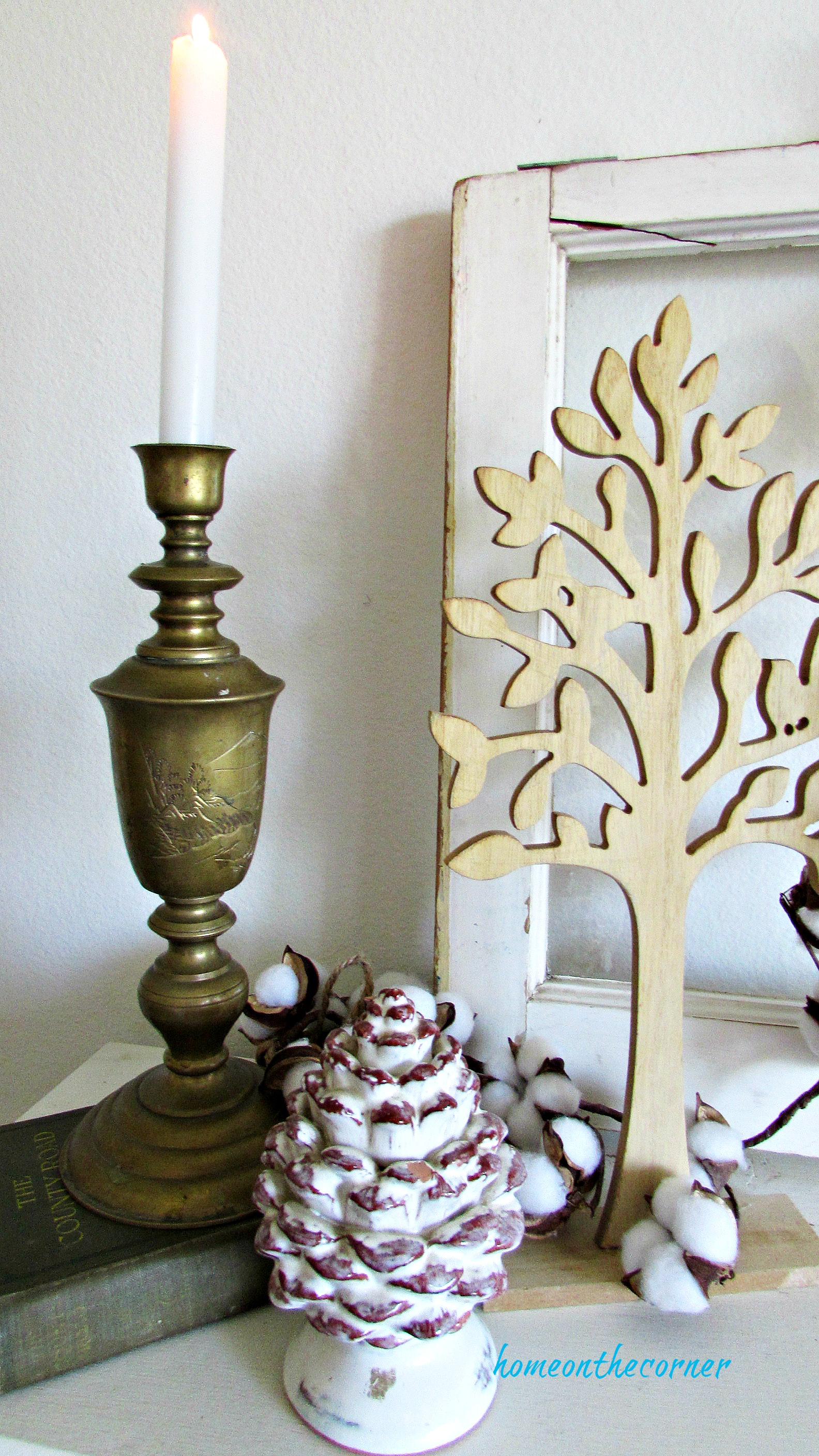 fall living room mantel candle, pinecone