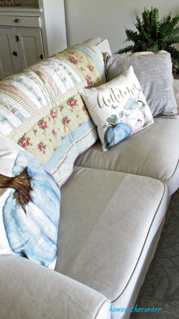 fall living room sofa autumn pillow