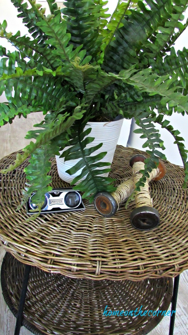fall living room table with fern spools