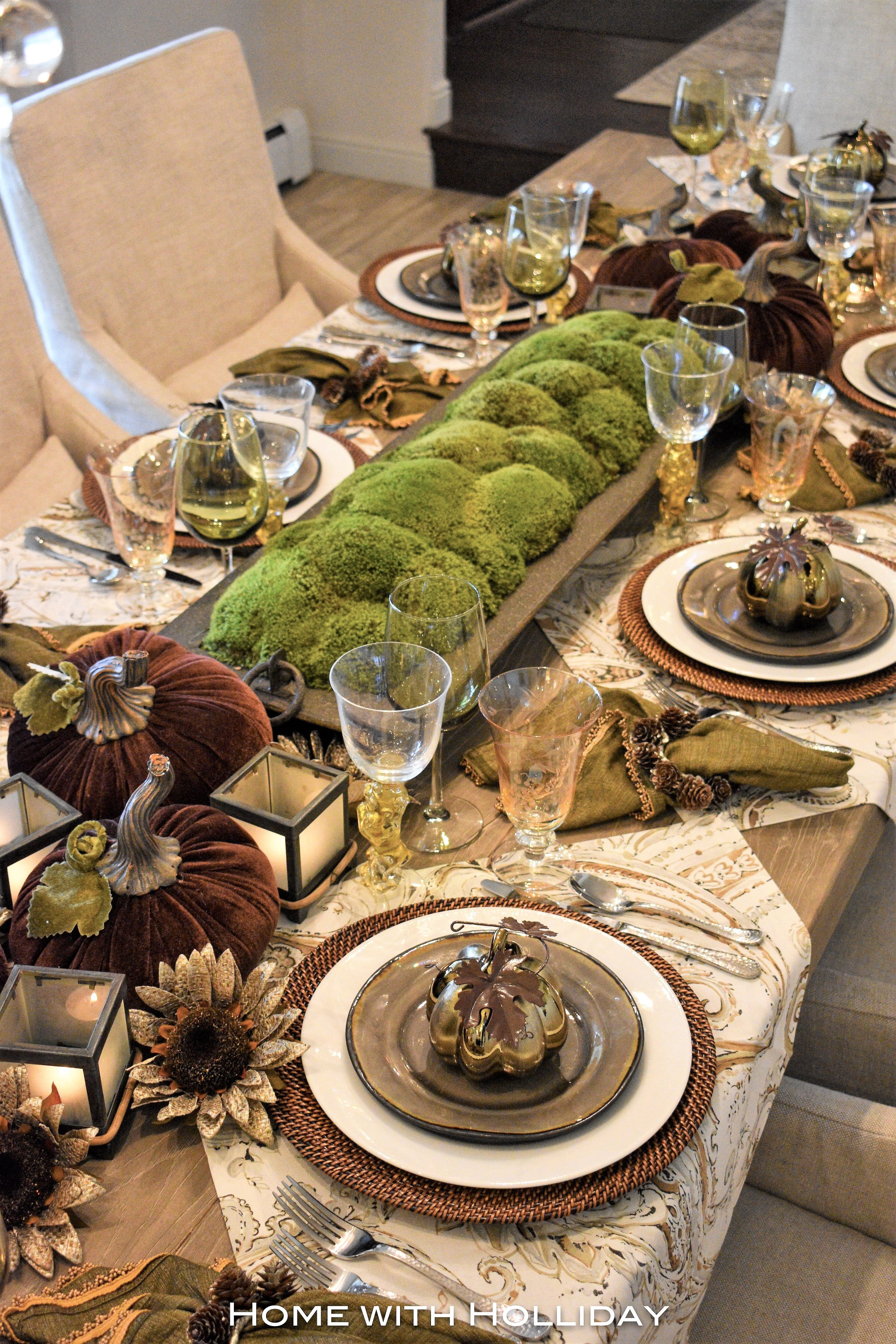 Green and Brown Tablescape Home with Holliday