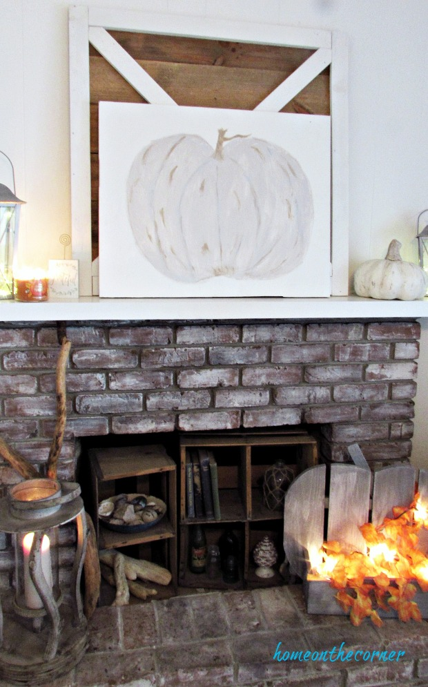 painted pumpkin fall mantle