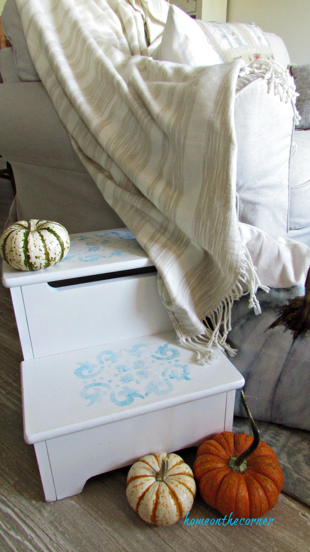 step stool makeover living room pumpkins
