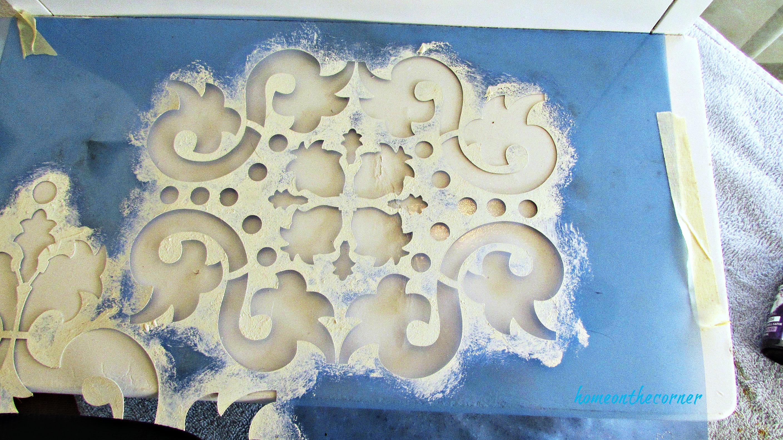 step stool makeover stencil