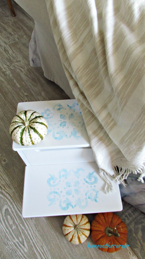 step stool makeover striped pumpkins turquoise