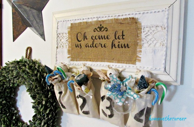 advent calendar burlap and lace, wreath, star
