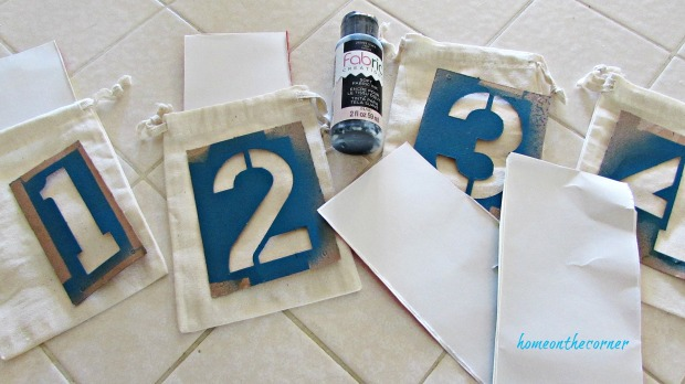 advent calendar number burlap bags