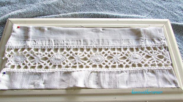 advent calendar pinned white lace material