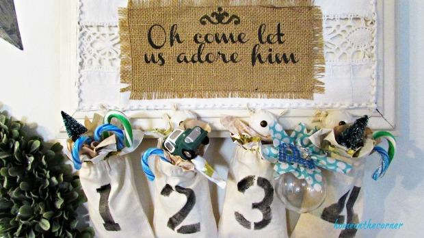 advent calendar white lace and burlap