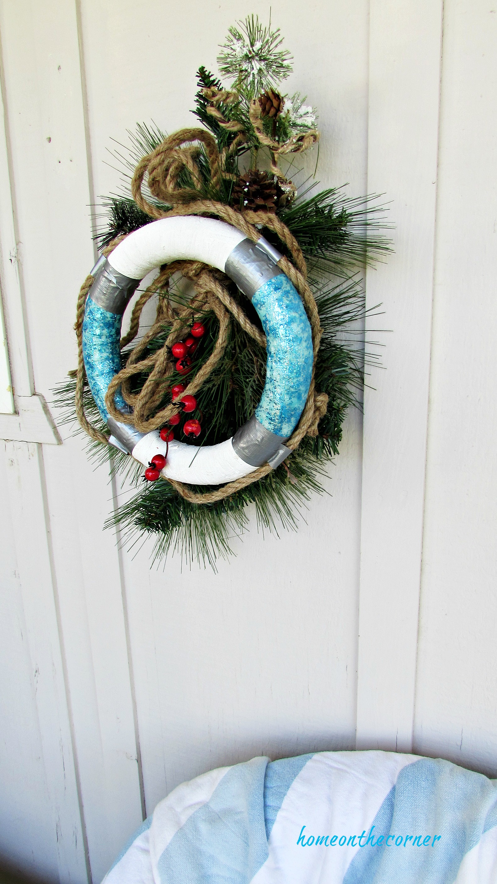 christmas wreath christmas greens with rope and berries