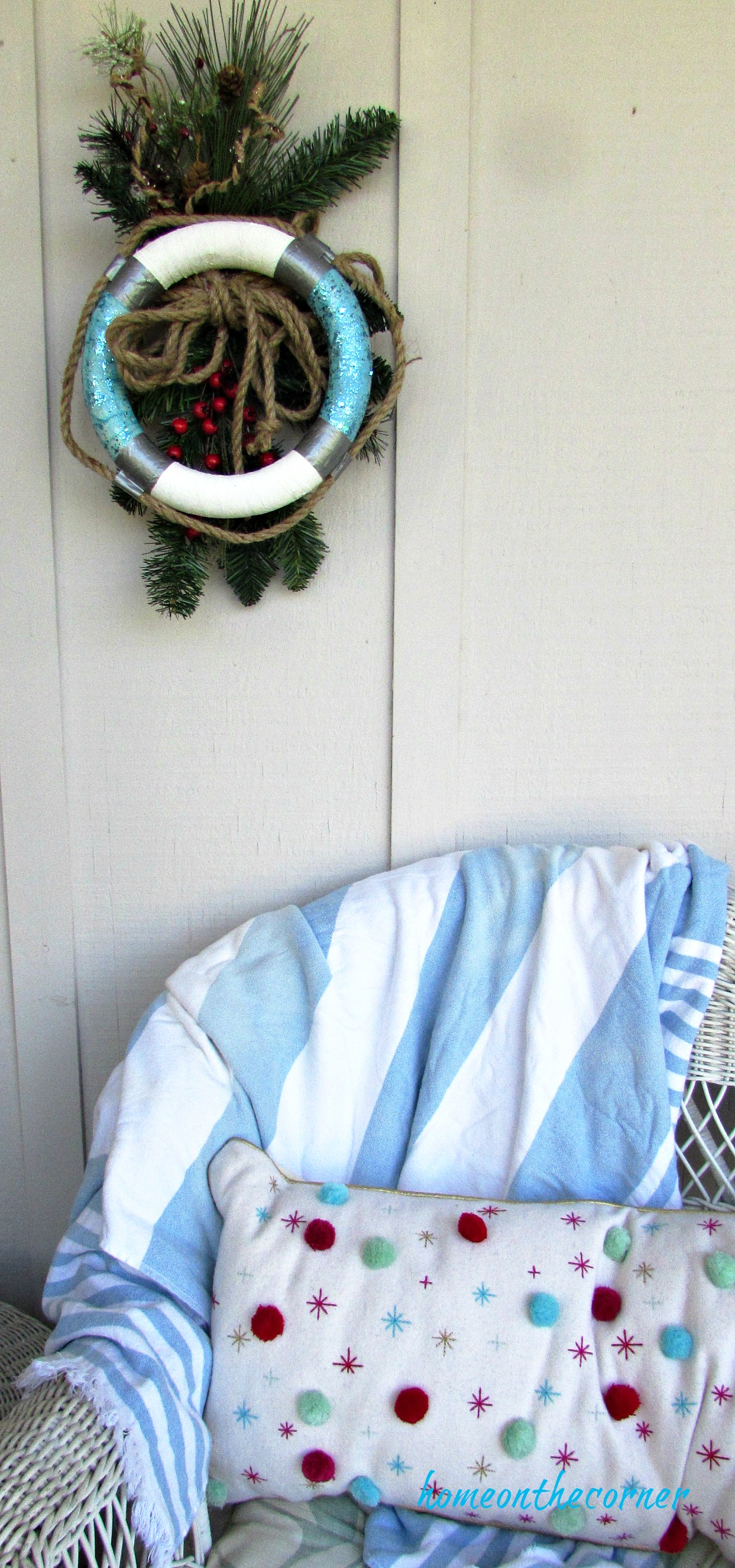 christmas wreath coastal buoy, throw and pillow