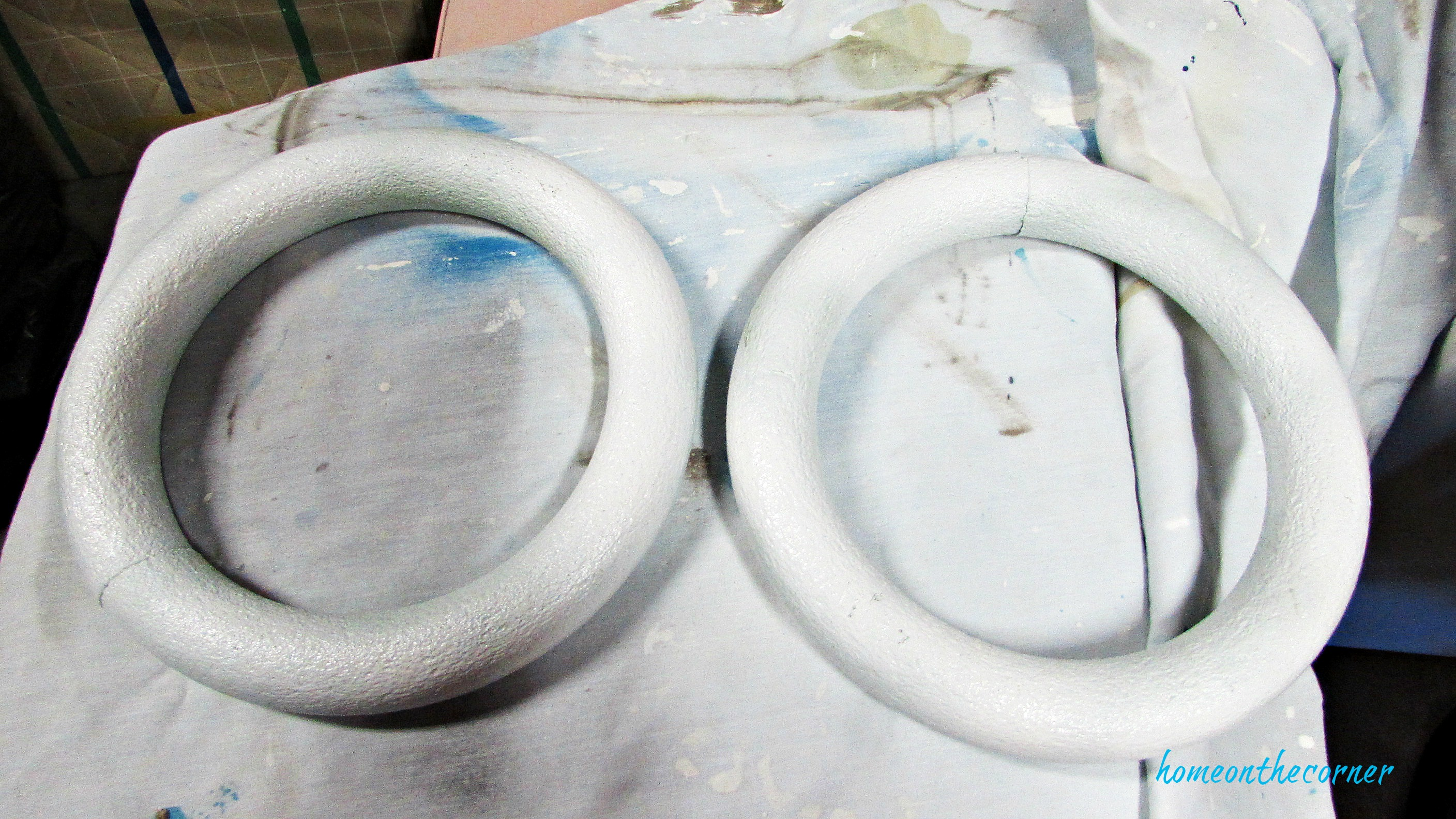 christmas wreath foam form painted white