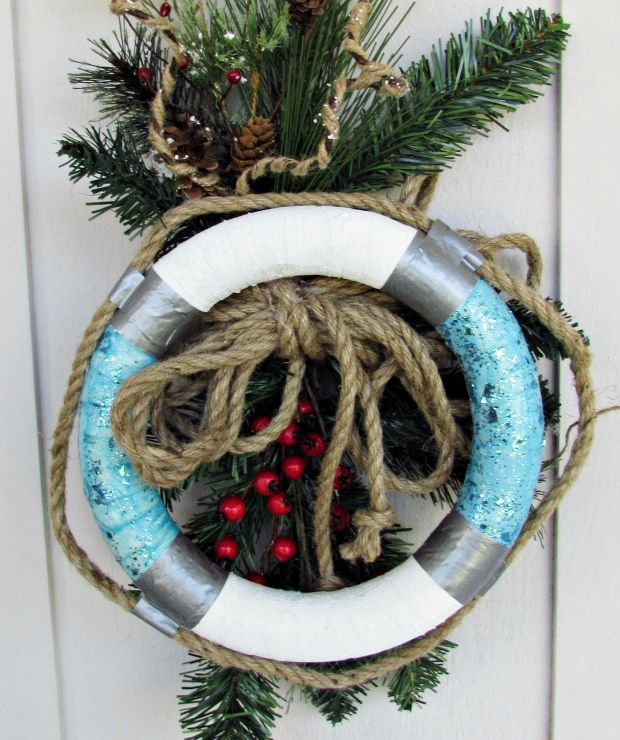 christmas wreath life buoy turquoise and white