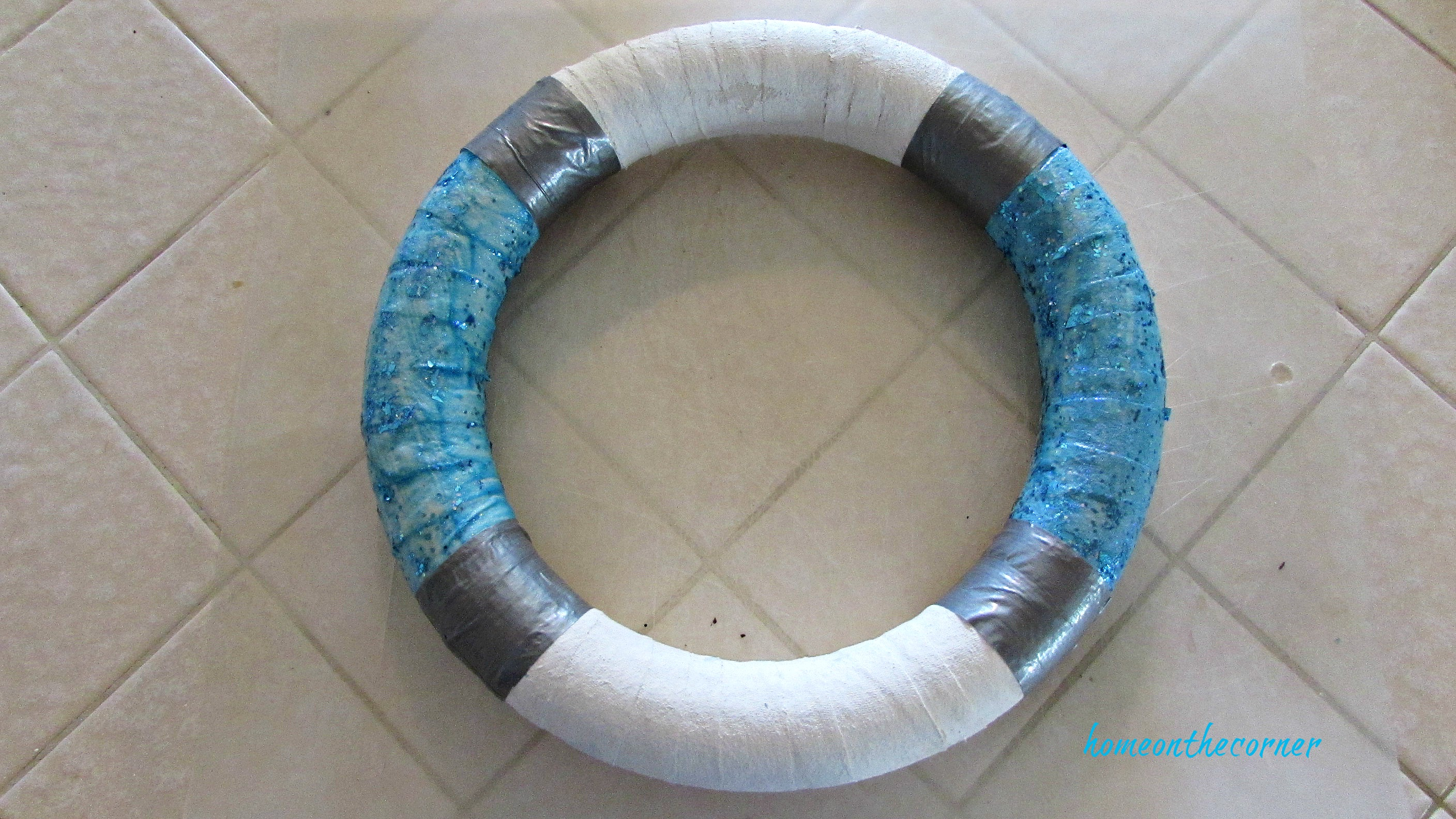 christmas wreath turquoise and white