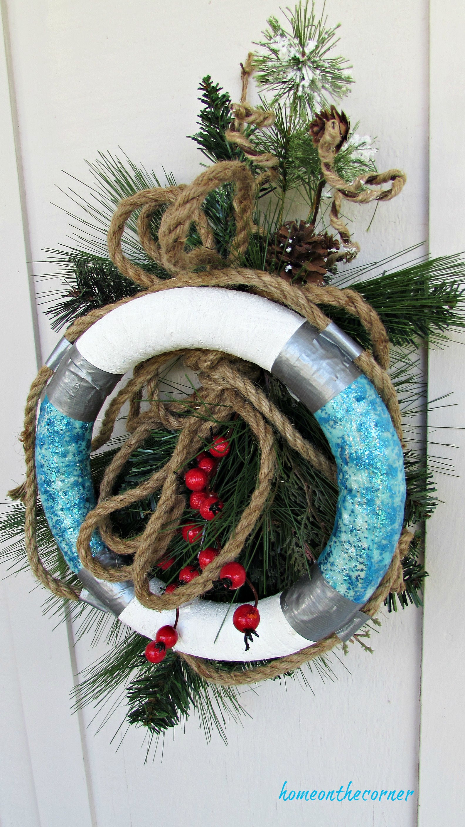 christmas wreath turquoise buoy with greens