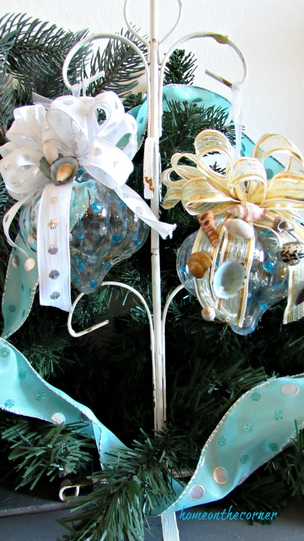 turquoise clear ornament