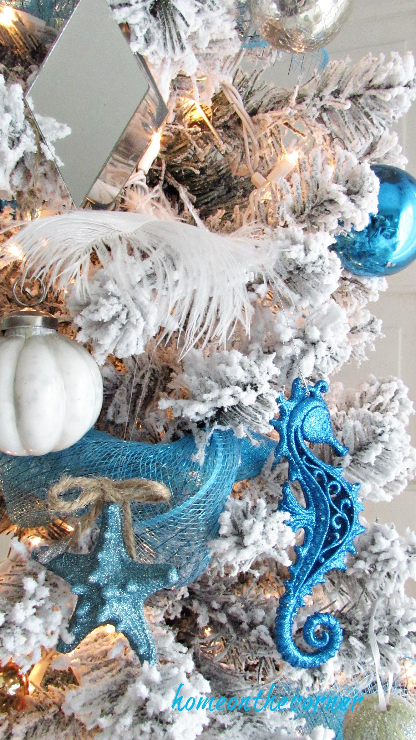 christmas 2017 flocked tree bechy decorations starfish