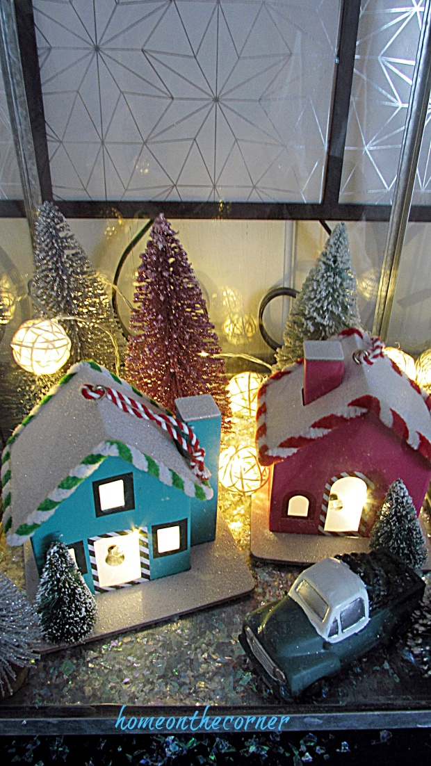 Christmas entryway small houses with lights