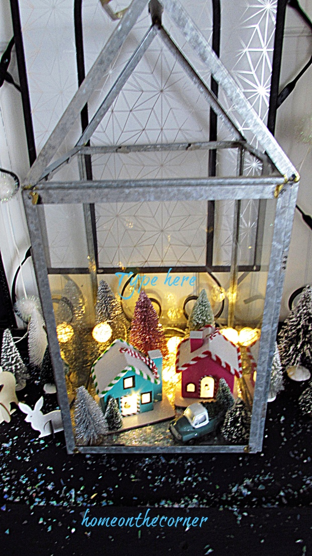 Christmas Entryway terranium lights