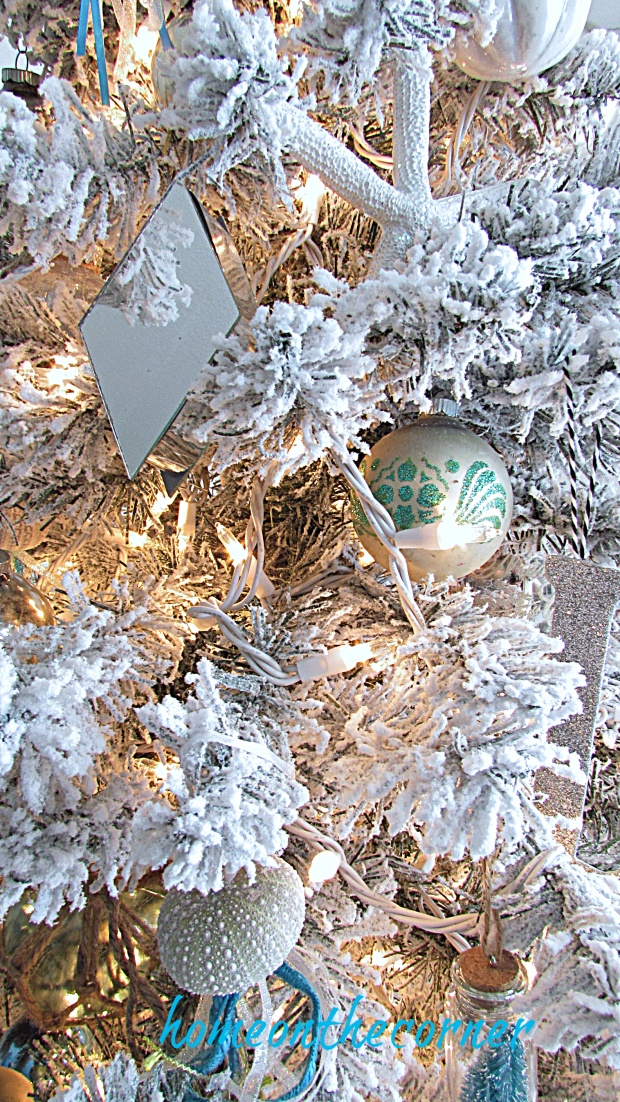 christmas Living room Flocked Tree Ornaments