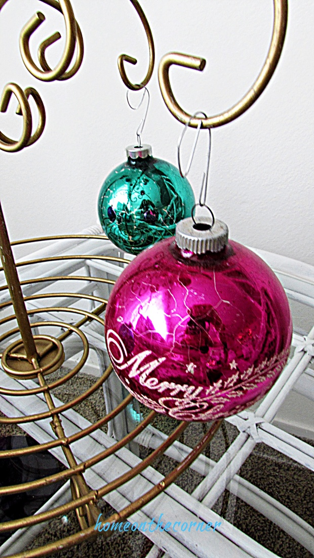 Christmas living room vintage pink ornament