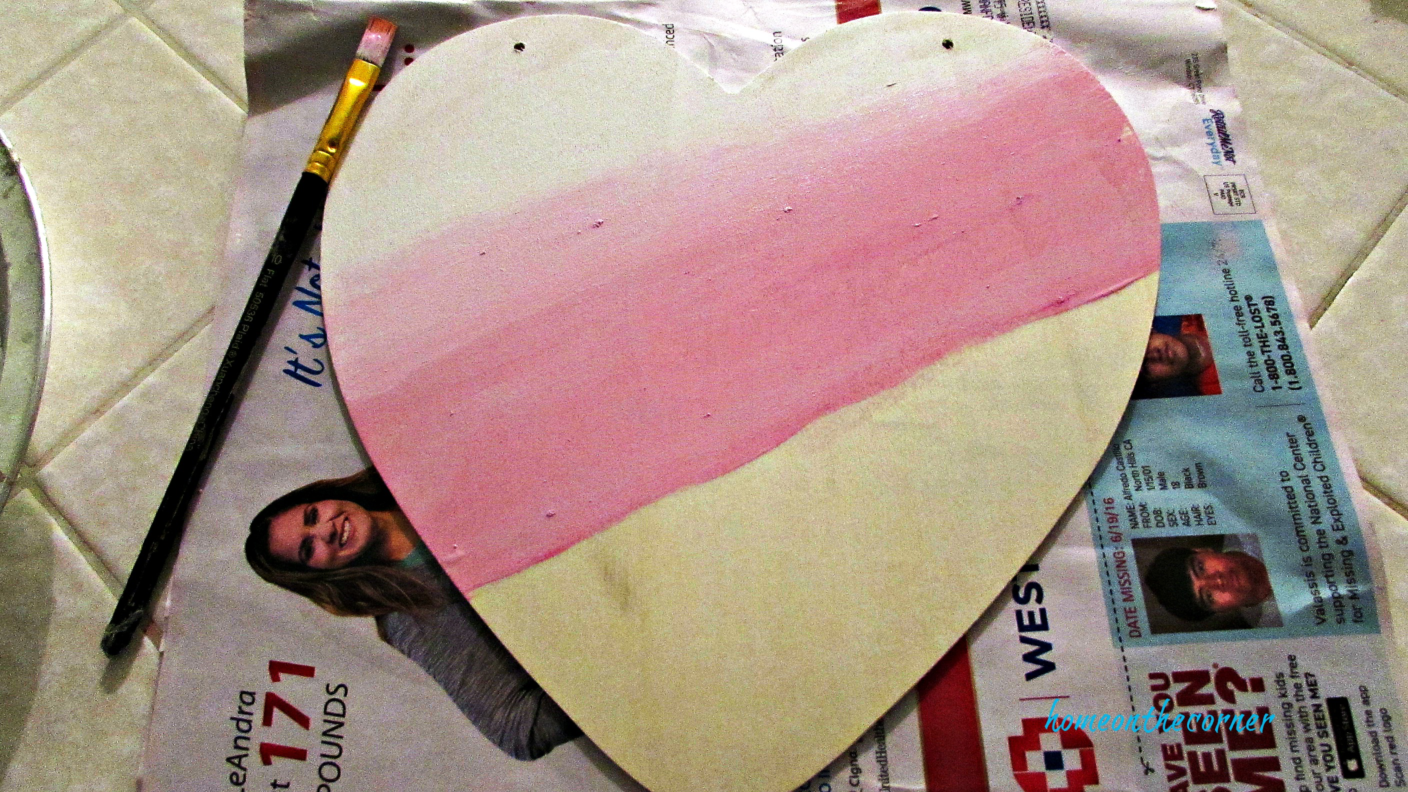 painted heart white and pink ombre'