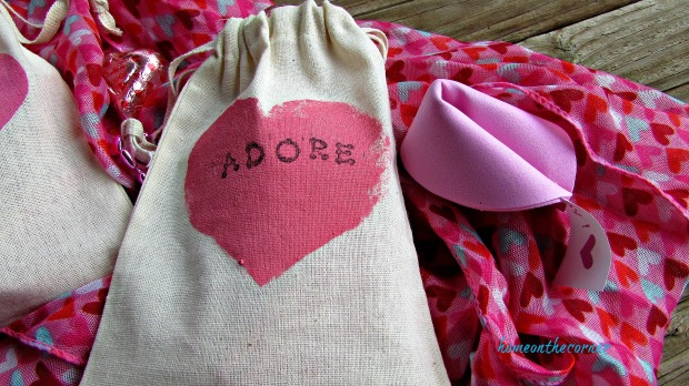 pink painted valentine bags fortune cookie