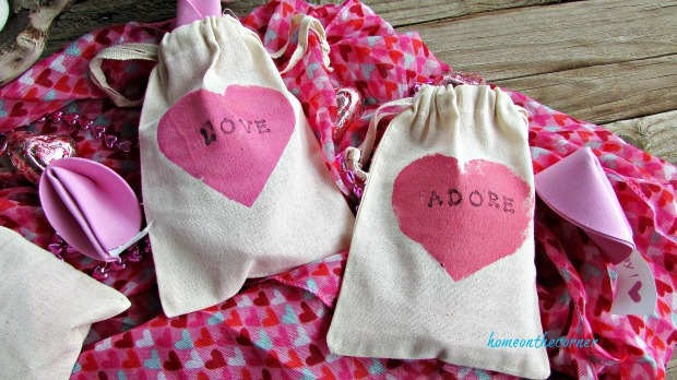 pink stamped valentine bags love adore