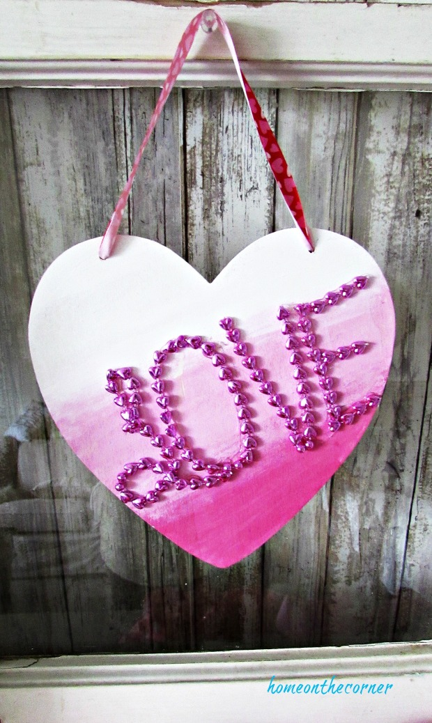 wooden heart hanging bead love