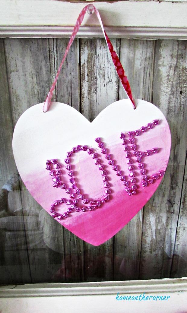 wooden heart hanging bead love