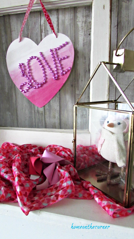 wooden heart pink mantel valentine