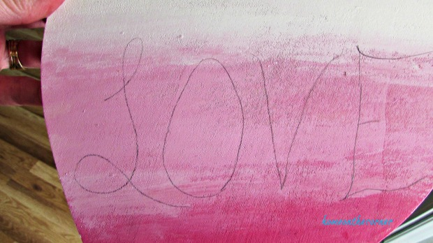 wooden heart pink ombre' love