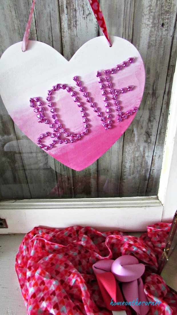 wooden heart plaque sign pink ombre'