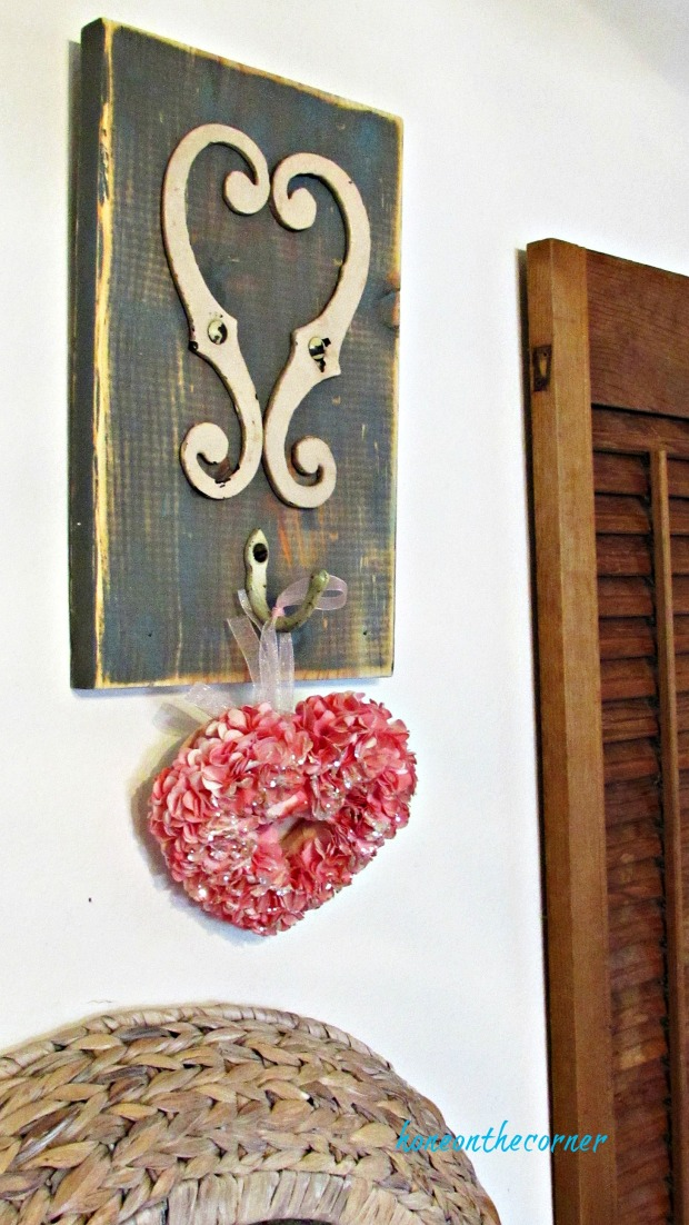 recycled heart wood and metal heart