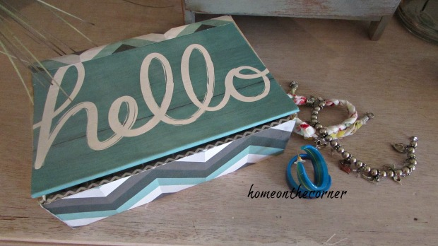 cigar box turquoise and grey